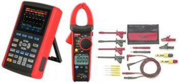 KFZ-Elektriker Set, Tragbares Oszilloskop 25 MHz + AC/DC Stromzangen-Multimeter + KFZ-Messleitungsset