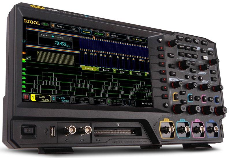 "RIGOL Oszilloskop MSO5204, 4 Kanäle, 200 MHz, 8 GSa/s, 100 Mpts, 500.000 wfms/s, 9"" Touchscreen, inkl. GRATIS Optionen Bundle"