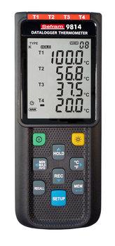Sefram 9814 Thermometer mit Datenlogger, 4-Kanäle Typ K / J / E / T, USB Anbindung und PC-Software