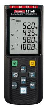 Sefram 9816B Thermometer mit Datenlogger, 4-Kanäle Typ K / J / E / T / N / R / S, Bluetooth® mit App, USB Anbindung und PC-Software