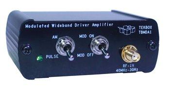 Tekbox TBMDA1 Breitband HF Verstärker 20 MHz bis 3 GHz, max. 150 mW, mit 1 kHz AM / Puls Modulation, zum Test der Störfestigkeit elektronischer Schaltungen